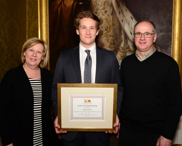 Mr. Daniel Rees, recipient of the 2015 and 2016 Dr. Paul O'Neill Scholarship, is pictured at the post-award reception at Government House with his parents.