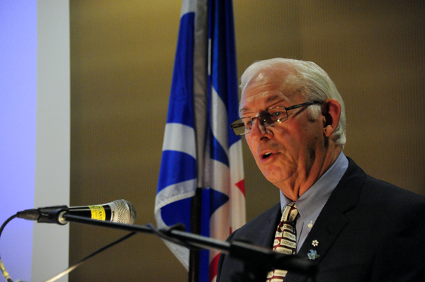 His Honour, The Honourable Frank F. Fagan, Lieutenant Governor of Newfoundland and Labrador, and patron of the Manning Awards, brings greetings at the award ceremony.