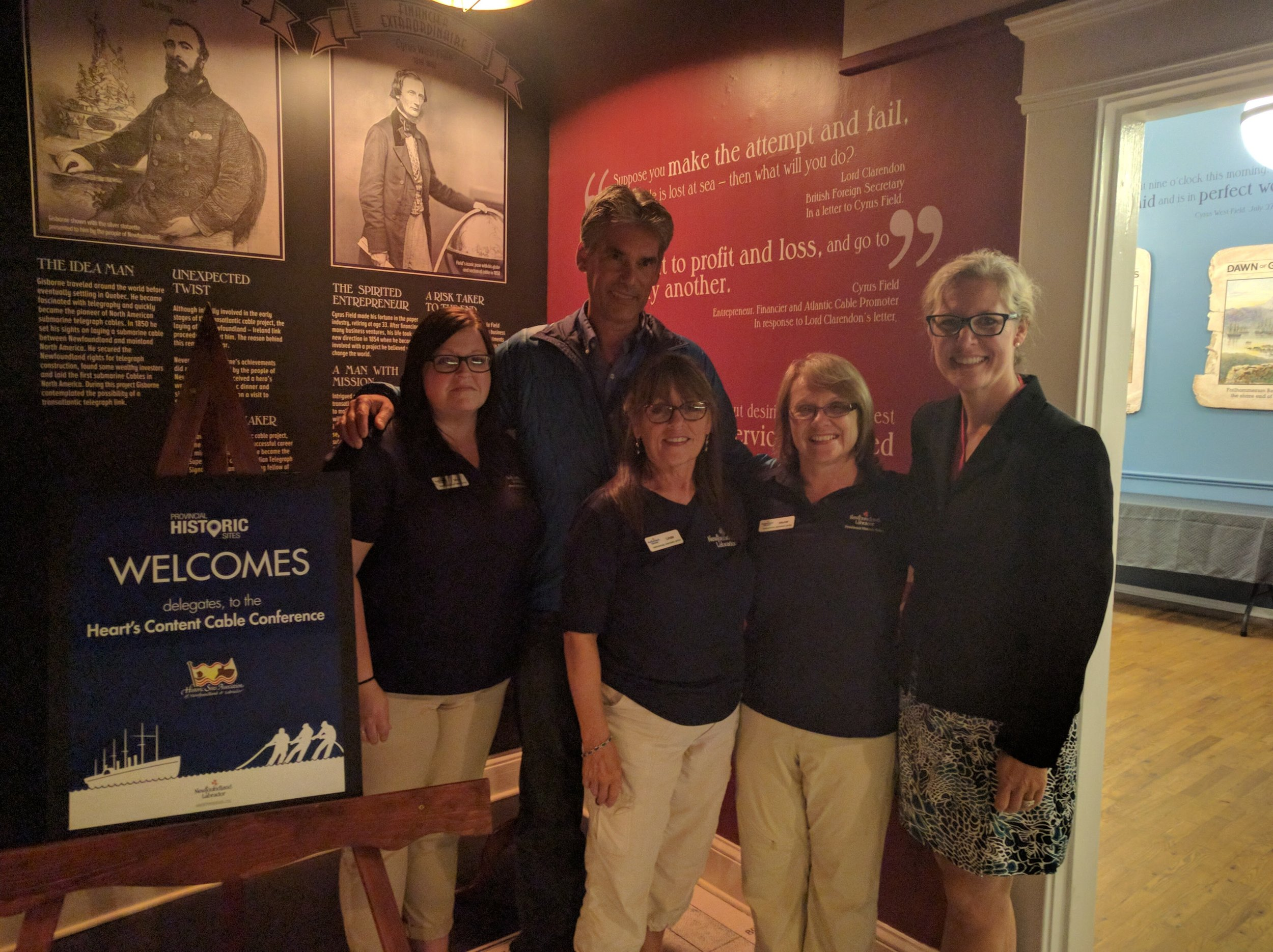 Provincial Historic Sites hosted our conference reception at the Cable Station Museum. Here's the great PHS team pictured with Cyrus Field IV and his wife, Stephanie Buffum.