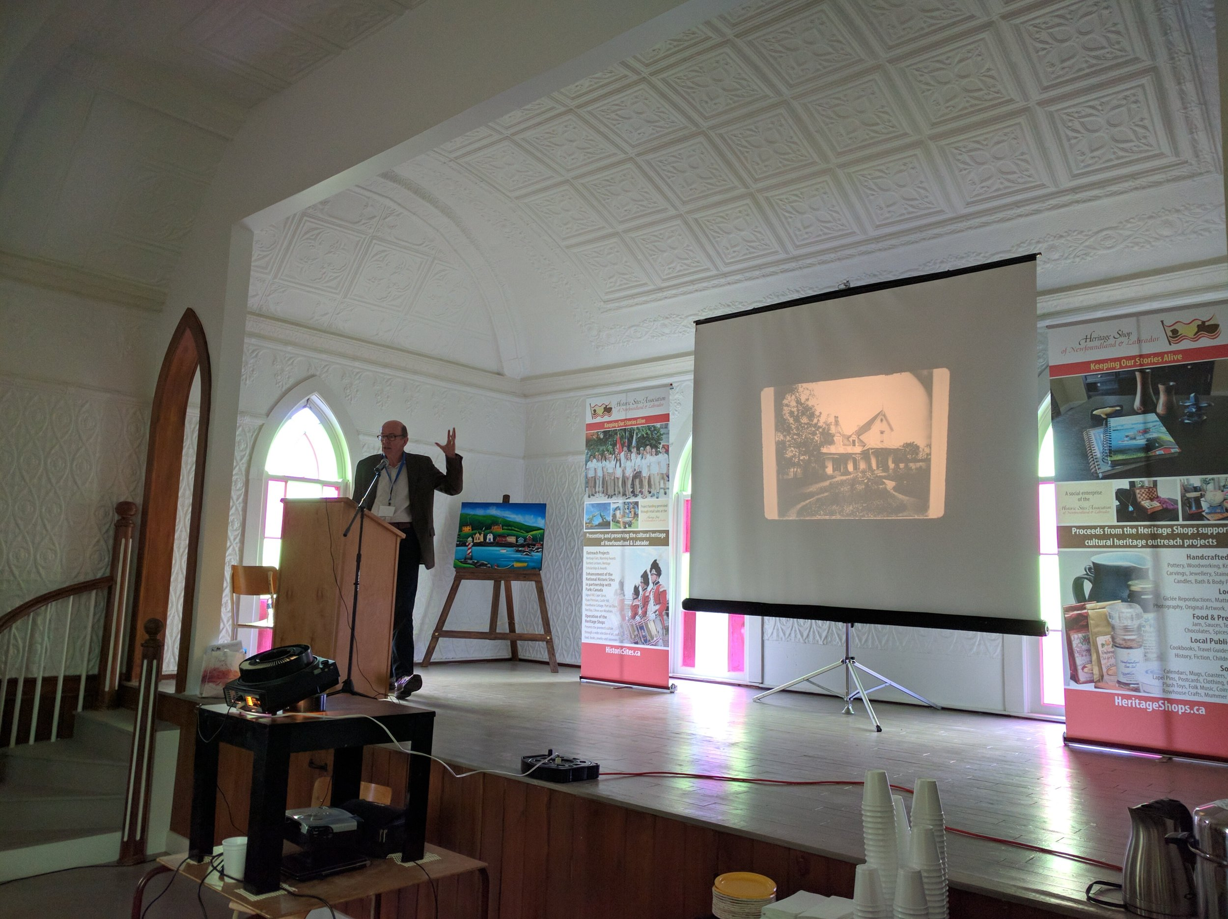 Shane O'Dea presented on the Southcott's and architecture in Heart's Content.