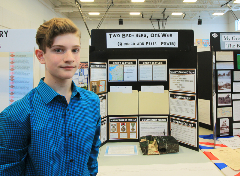 """Darcy Scott  Grade 8, Frank Roberts Junior High Avalon Regional Heritage Fair  """"Two Brothers, One War""""  My project was about two of my relatives, Richard and Peter Power, who were two brothers from Cupids. Both fought in World War I and were highly decorated soldiers."""