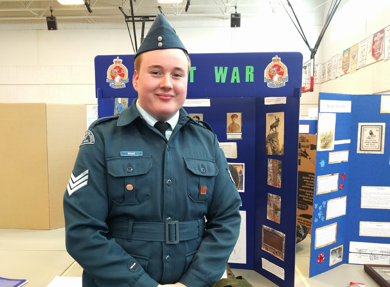 """Jordan Brake  Grade 10, Waterford Valley High Avalon Regional Heritage Fair  """"NL at War""""  My project explored people who served in the First World War from my parents' home towns of Marystown and Little Bay. Through researching this project I learned about several relatives who served in the war."""