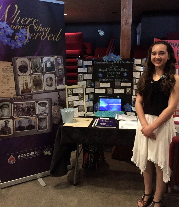"""Haley Peddle  Grade 7, Southwest Arm Academy Vista Regional Heritage Fair   """"Remembering WW1 Soldiers of the Royal Newfoundland Regiment from Southwest Arm Area""""   My project highlighted individuals from the Southwest Arm Area who fought and served in WW1."""