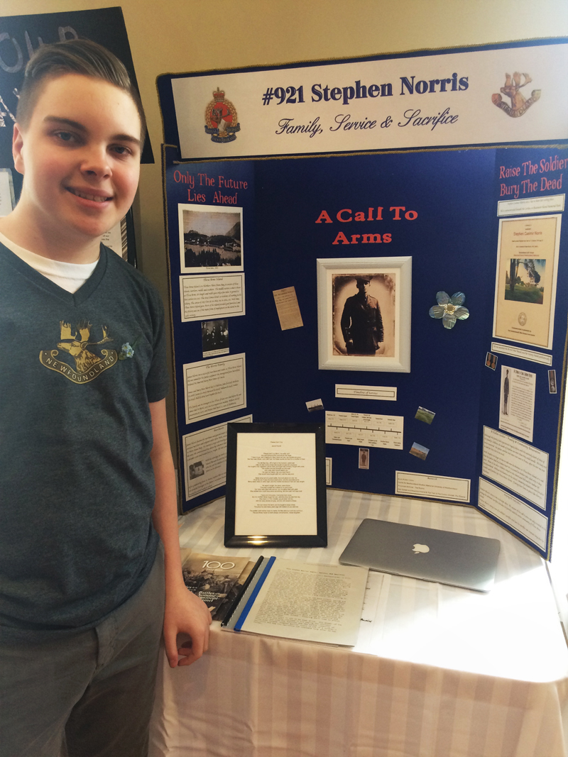 """Jacob Farrell  Grade 8, Pearce Junior High Burin Regional Heritage Fair  """"#921 Stephen Norris""""  My project was about Lieutenant Stephen Norris - #921, of Three Arm's Island in Northern Notre Dame Bay. I explored Norris' amazing story of family, service, and sacrifice and helped keep history alive."""