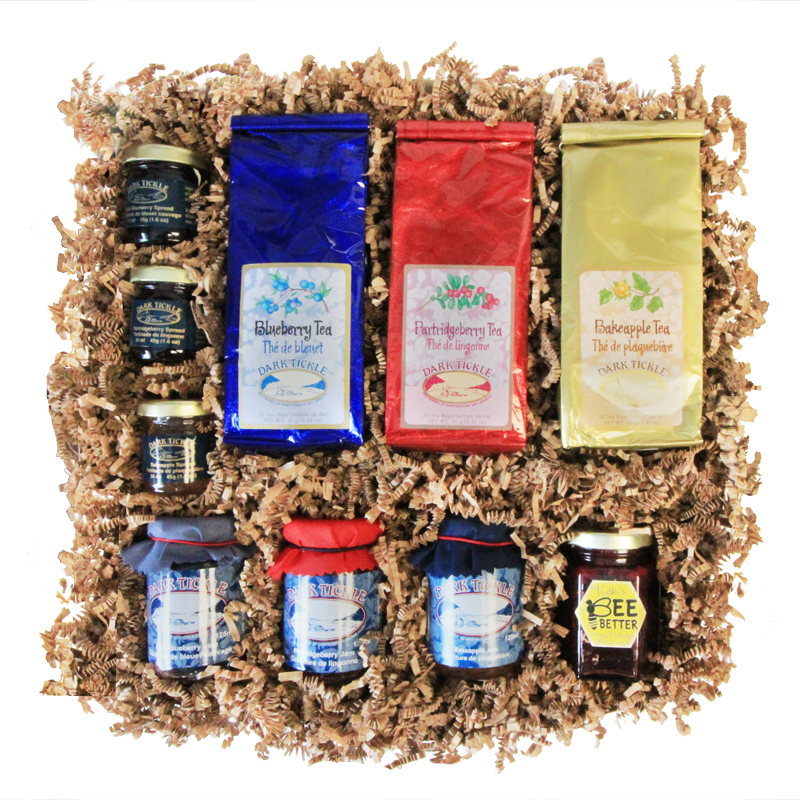 Newfoundland Wildberry Gift Box    A delicious selection of products made from locally-picked wildberries: bakeapples, partridgeberries and bakeapples   Choose From: Jams, Spreads, Sauces, Teas, Coffees, Chocolates, Honey, Vinegar, and more