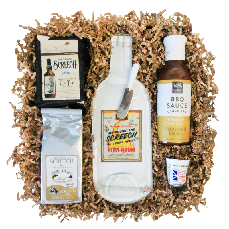 Newfoundland Screech Gift Box    A custom selection of products infused with the flavour of Newfoundland's infamous Screech Rum   Choose From: Coffee, BBQ Sauce, Tea, Chocolate, Screech-Bottle Cheese Board, and NL Shot Glass