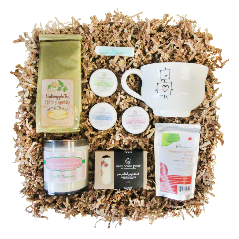 Local Relaxation Gift Box    A care package of local favourites for some well-deserved relaxation   Choose From: Local Pottery Mugs, Wildberry Teas, Fragrant Candles, Delicious Chocolates, and Luxury Soap, Balms and Bath Salts