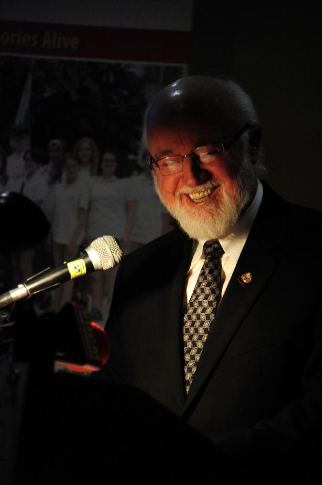 John Warren accepts the award on behalf of the Mizzen Heritage Society