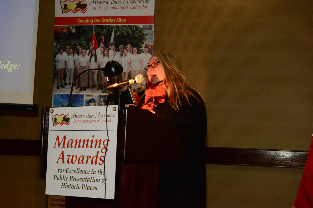 Author Pam Hall accepting the Heritage and History Book Award