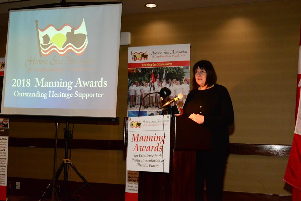 HSA Emeritus Member Joan Ritcey describes the 2018 Outstanding Heritage Supporter recipient Linda White