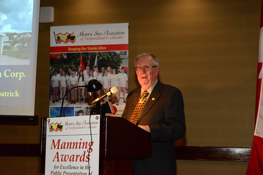 Albert Dober speaks on behalf of the Marystown Heritage Museum Corporation