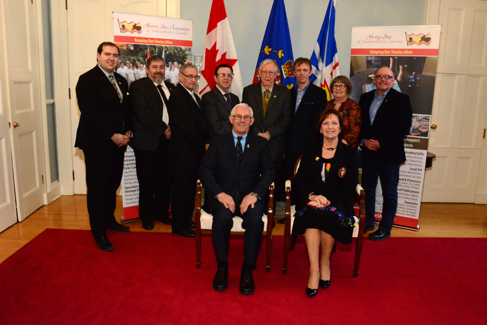 Marystown Heritage Museum Corporation and government representatives at the Government House reception with Their Honours