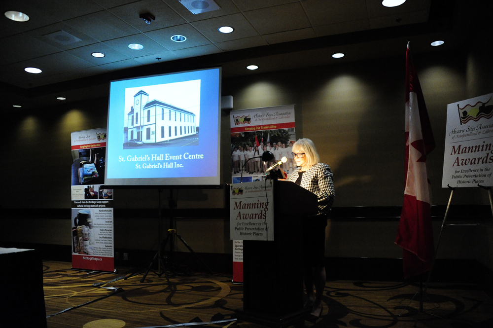 Sharon Outerbridge, HSA Emeritus member, describes St. Gabriel's Hall Event Centre in Marystown