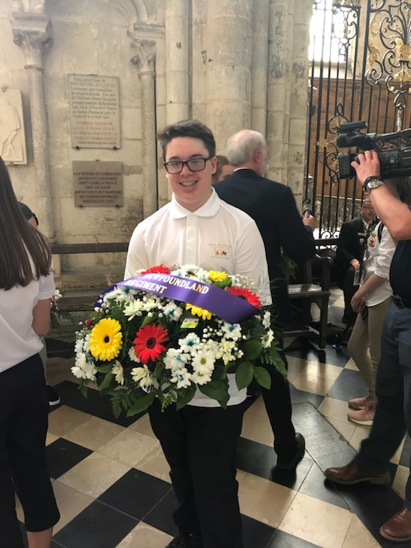 Kyle Pike, one of the ambassadors as a wreath carrier at Amiens Cathedral.