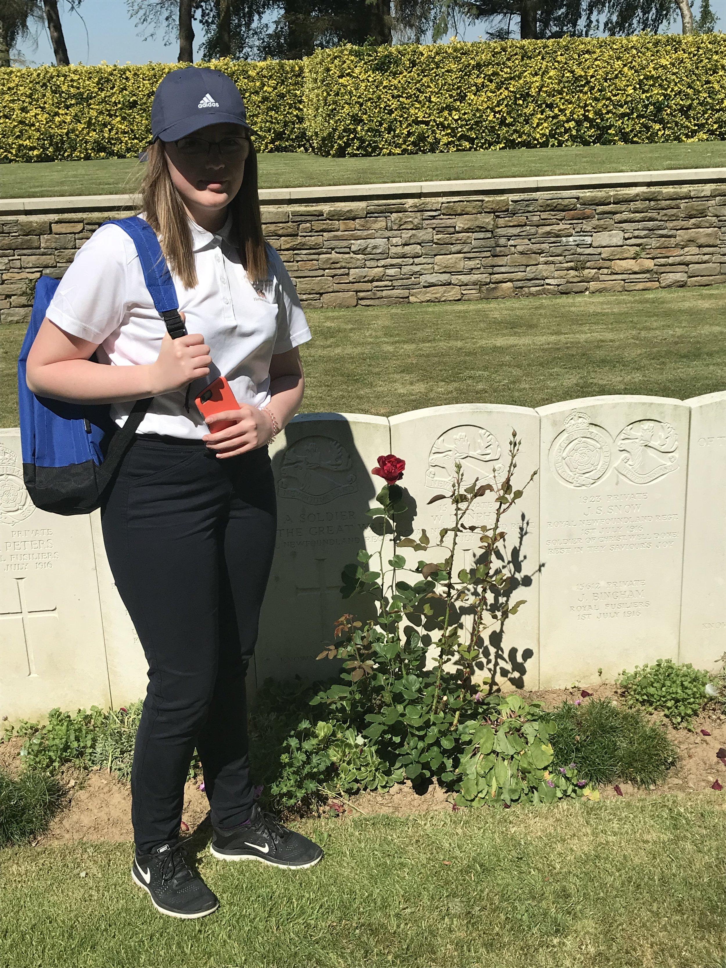 Ambassador Maggie Barter, at the gravesite of a Newfoundland solider.