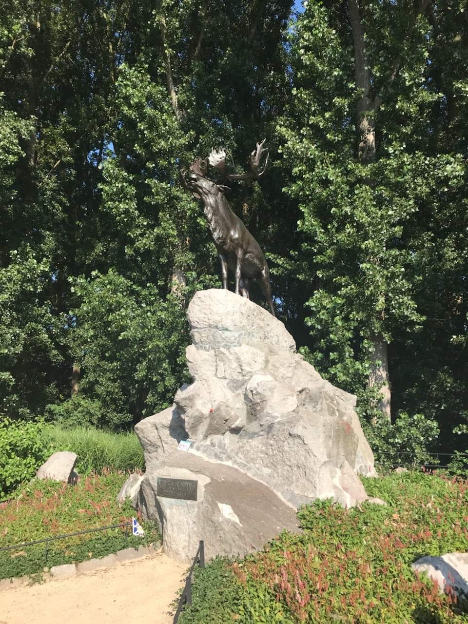 The bronze Caribou monument in Kortrijk (Courtai)