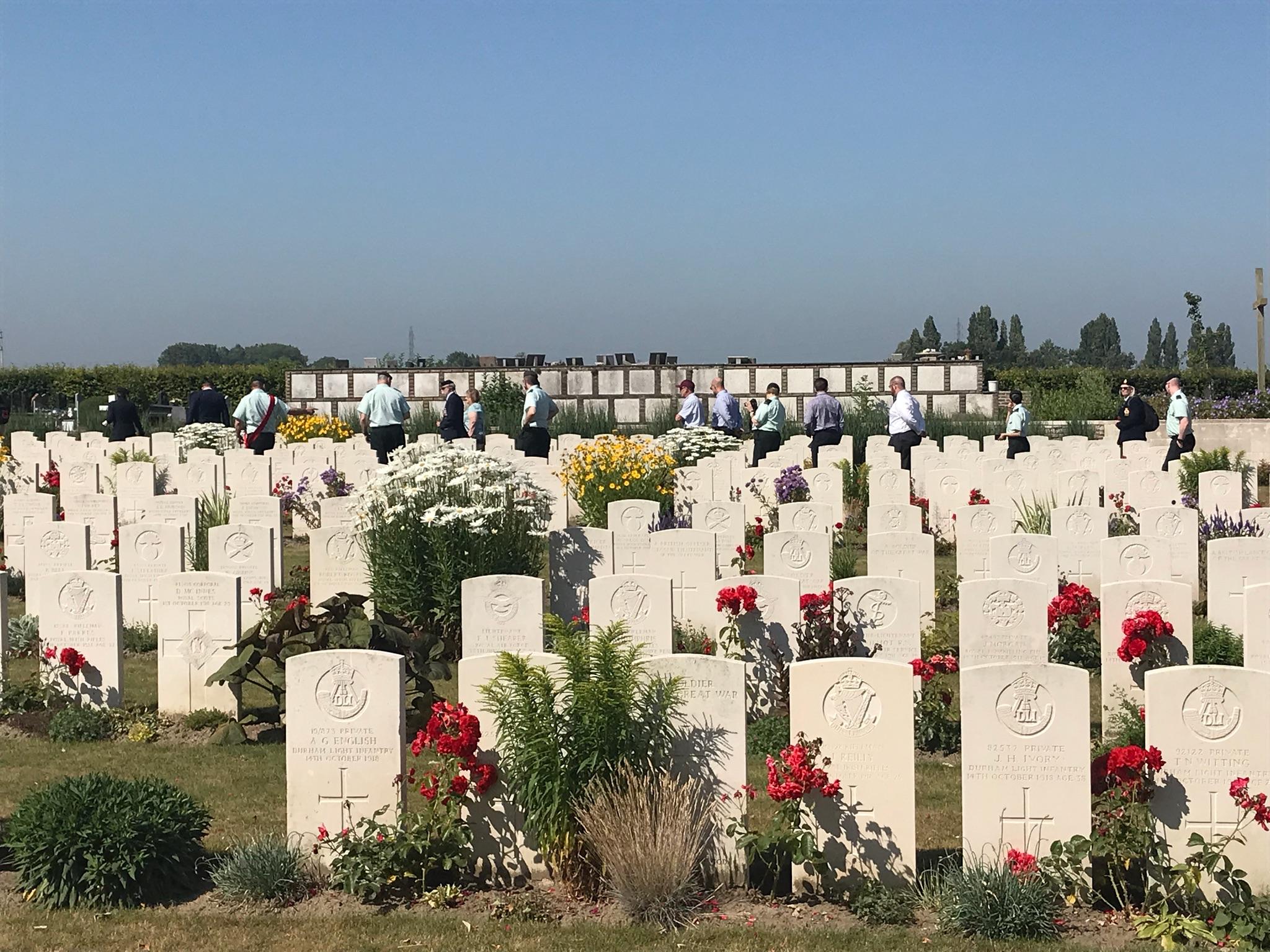 Gravesites at a British cemetery.