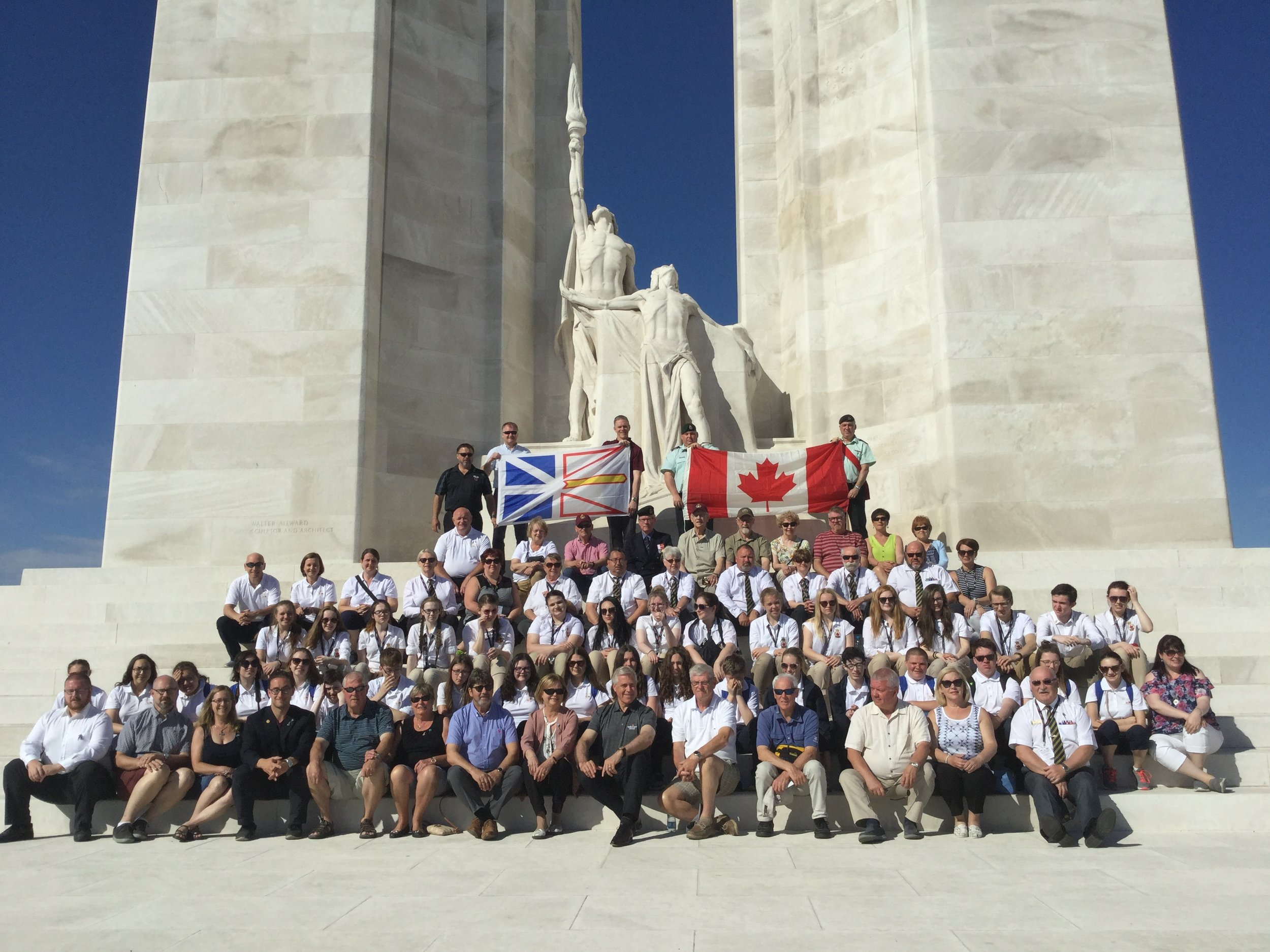 Members of the pilgrimage, including the Ambassadors, at Vimy Ridge.