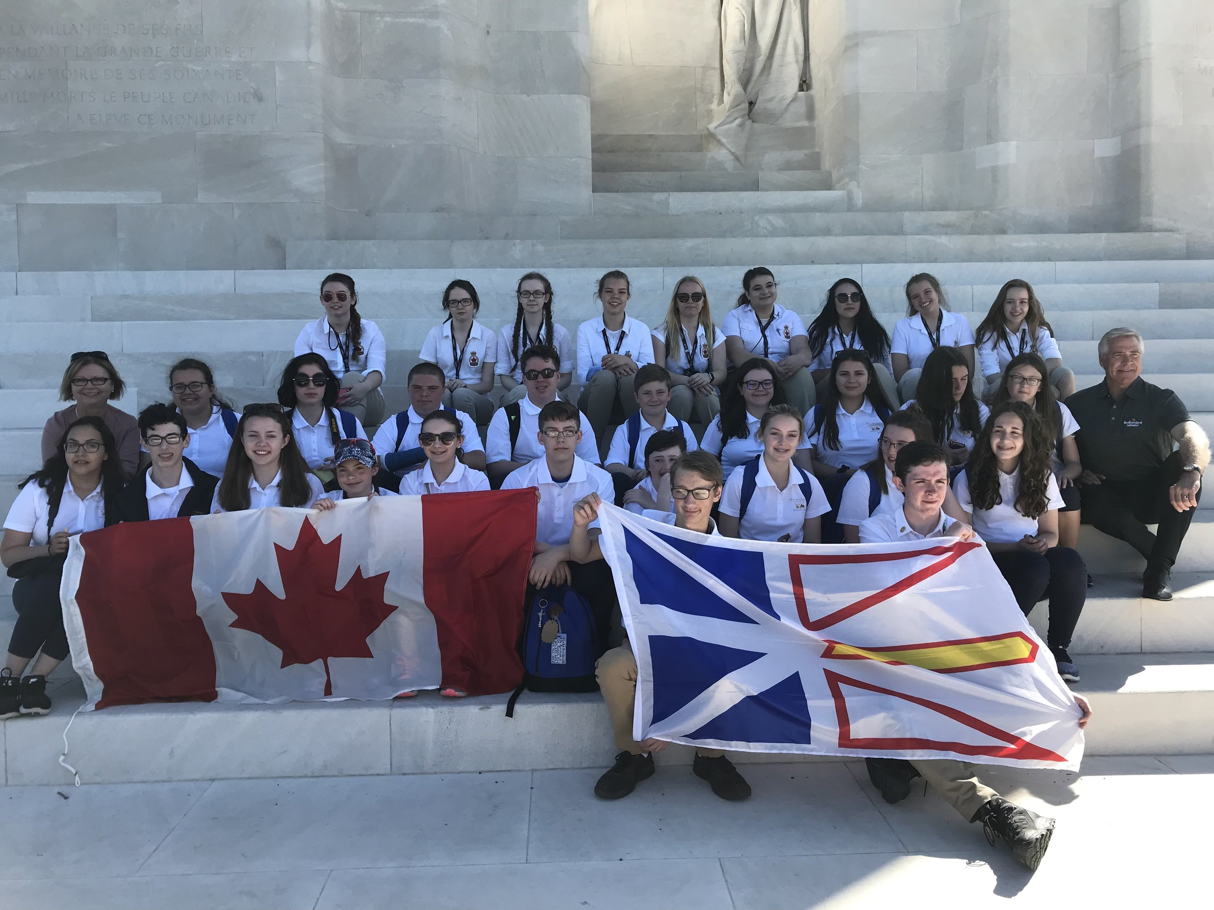 The student ambassadors at Vimy Ridge in France.