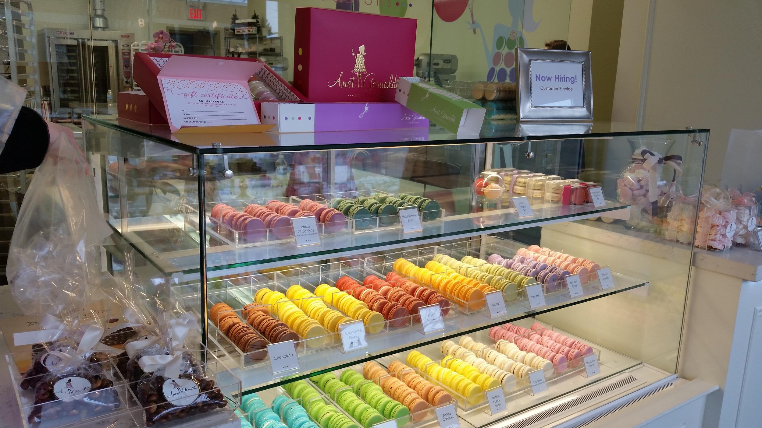 Gorgeous macaron display at AG Macaron