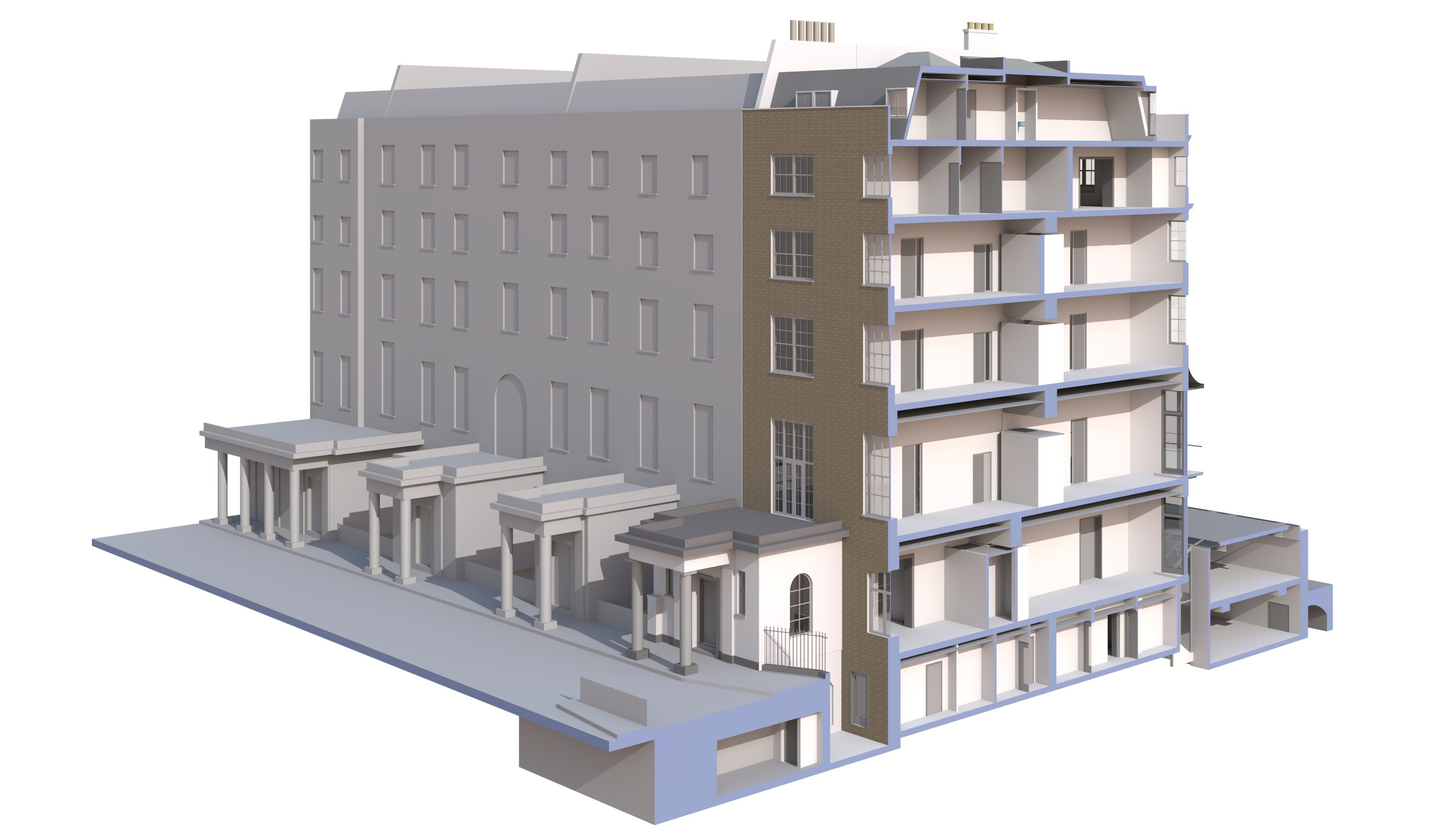 3. Detiled 3D model of townhouse from rear perspective with section though the building. Others houses are shown as basic 3D model.jpg
