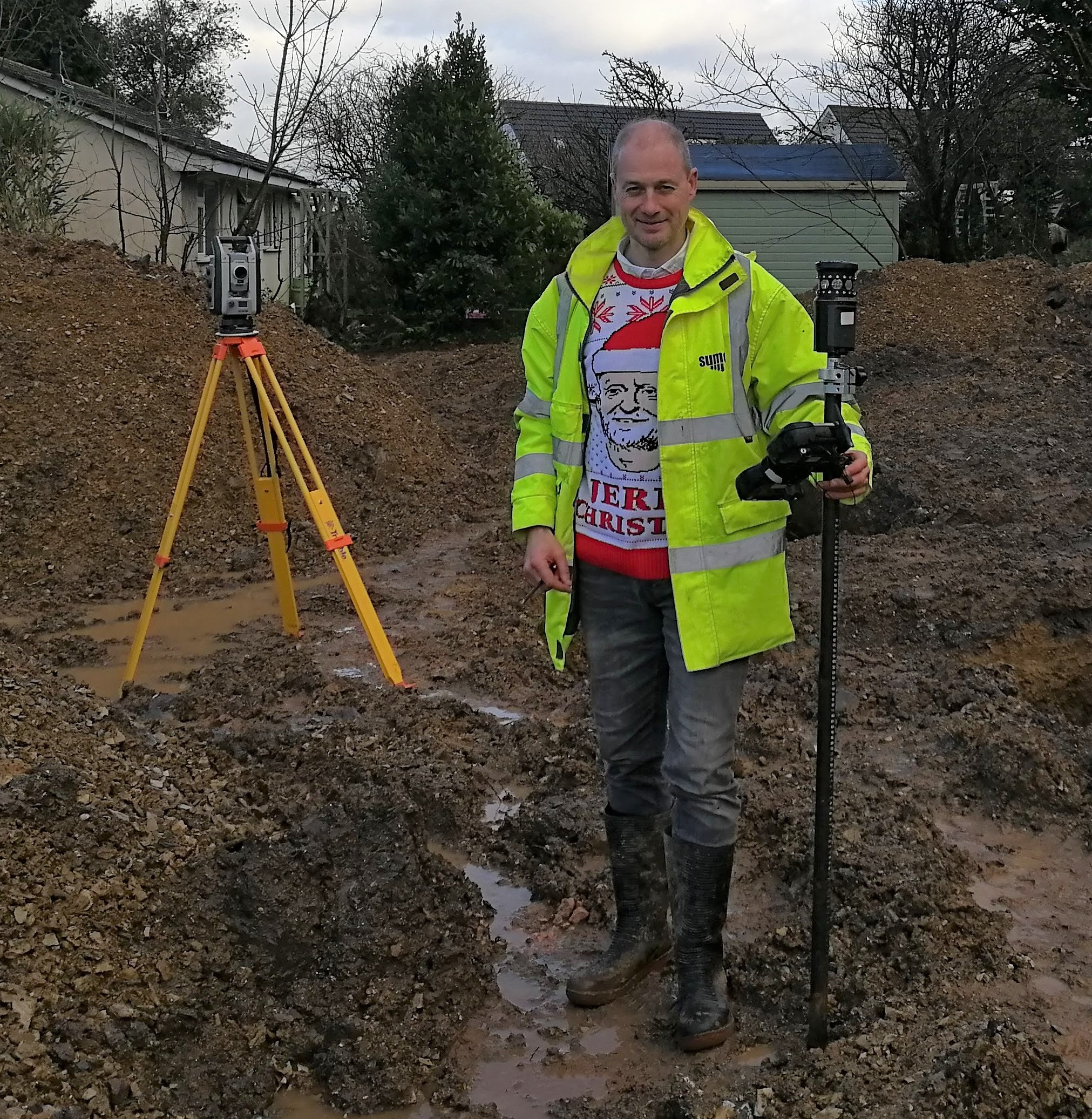 SUMO Director Paul looks very festive whilst completing his  Topographic  survey.