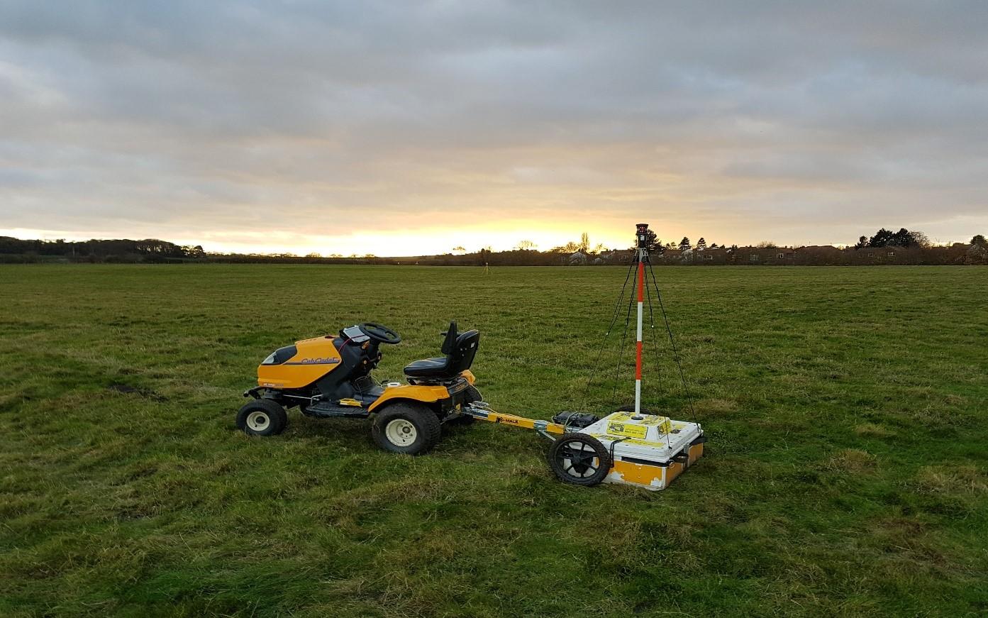 SUMO's High Density Ground Penetrating Radar equipment at Branodunum.
