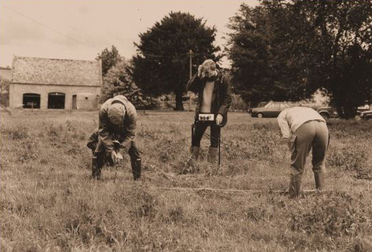 John Gater completing an electrical imaging survey with the late Arnold Aspinall and Jim Pocock from Bradford University.