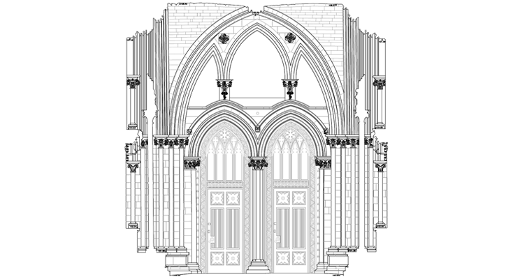 2D plans and elevations at St Albans Cathedral created by APR Services