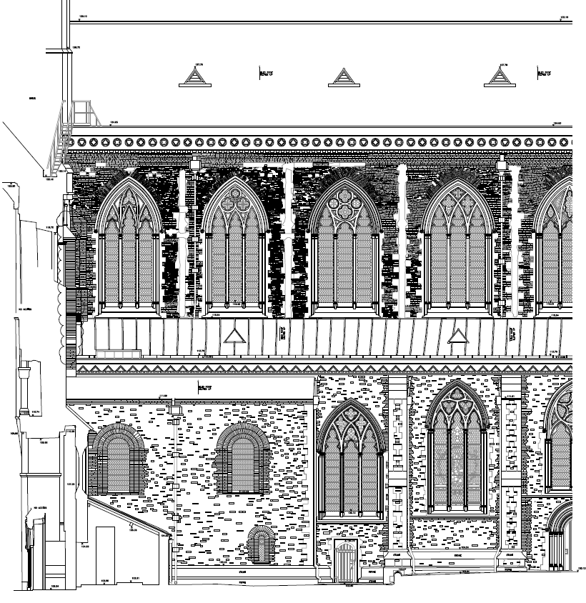 A section of the 2D survey deliverable from St Albans Cathedral.