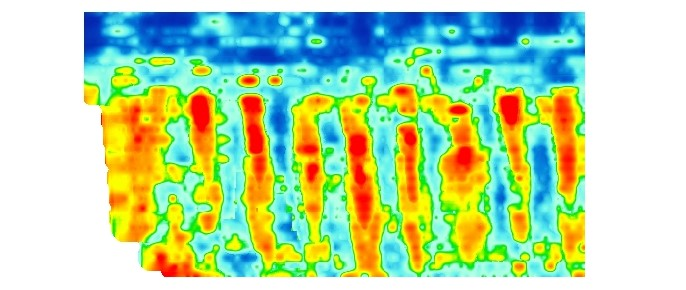 This example of Ground Penetrating Radar data shows the location of buried attenuation tanks.