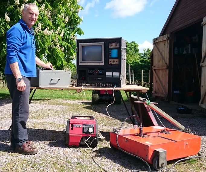 Peter Barker with his early geophysics equipment, the SIR 3 Radar System.