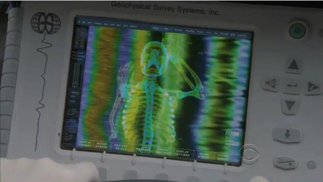 The image above shows the data collected in an episode of  CSI New York . Whilst the equipment used was 'state of the art' at the time, the data in the programme was so detailed (it even showed individual bones, which sadly isn't the reality!