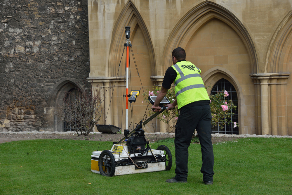 GPR equipment being manually pushed.