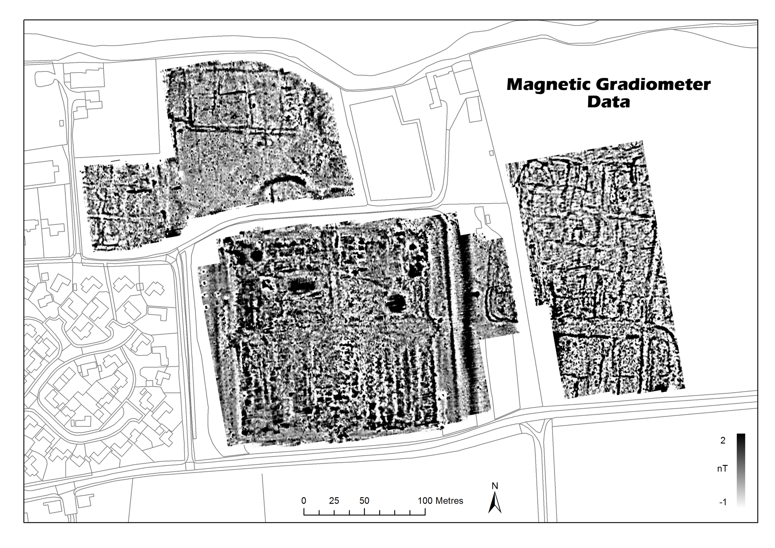 Example of magnetometry data. This survey technique was used to locate areas of interest at Brancaster Roman Fort.