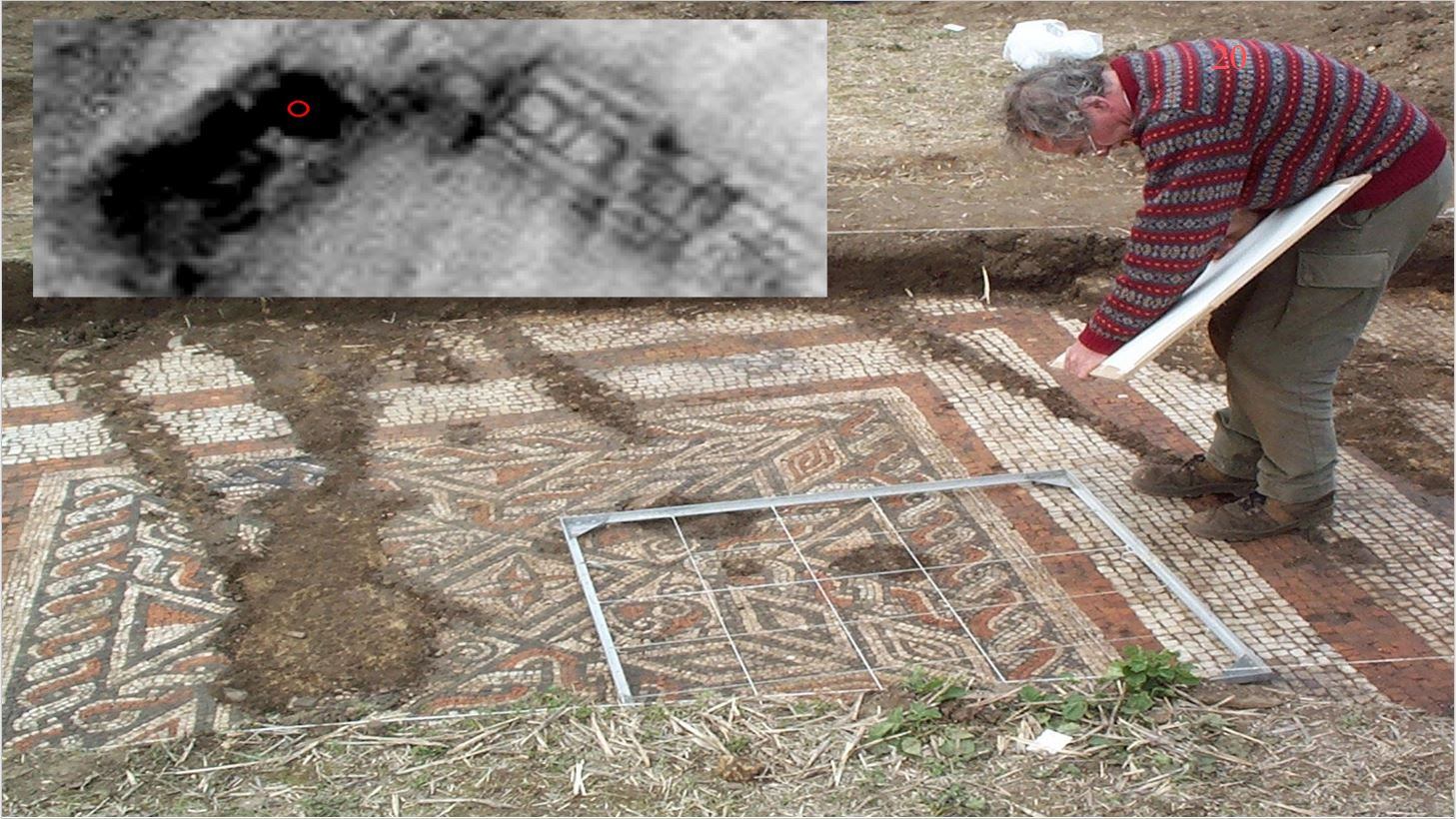 Mosaic  – resistance survey showing a Roman villa. The red circle shows the area where the trial trench was located. The villa has two wings - in the top right of the data image the rooms and corridors are visible and the indications are that the floors are simply beaten earth between stone / flint walls. By contrast, the wing on the left of the plot shows 'solid' floors – and these proved to be intact mosaics, albeit damaged by recent ploughing.