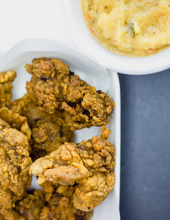Fried Chicken Livers + Savory Apple Dipping Sauce  | flavortheory.com