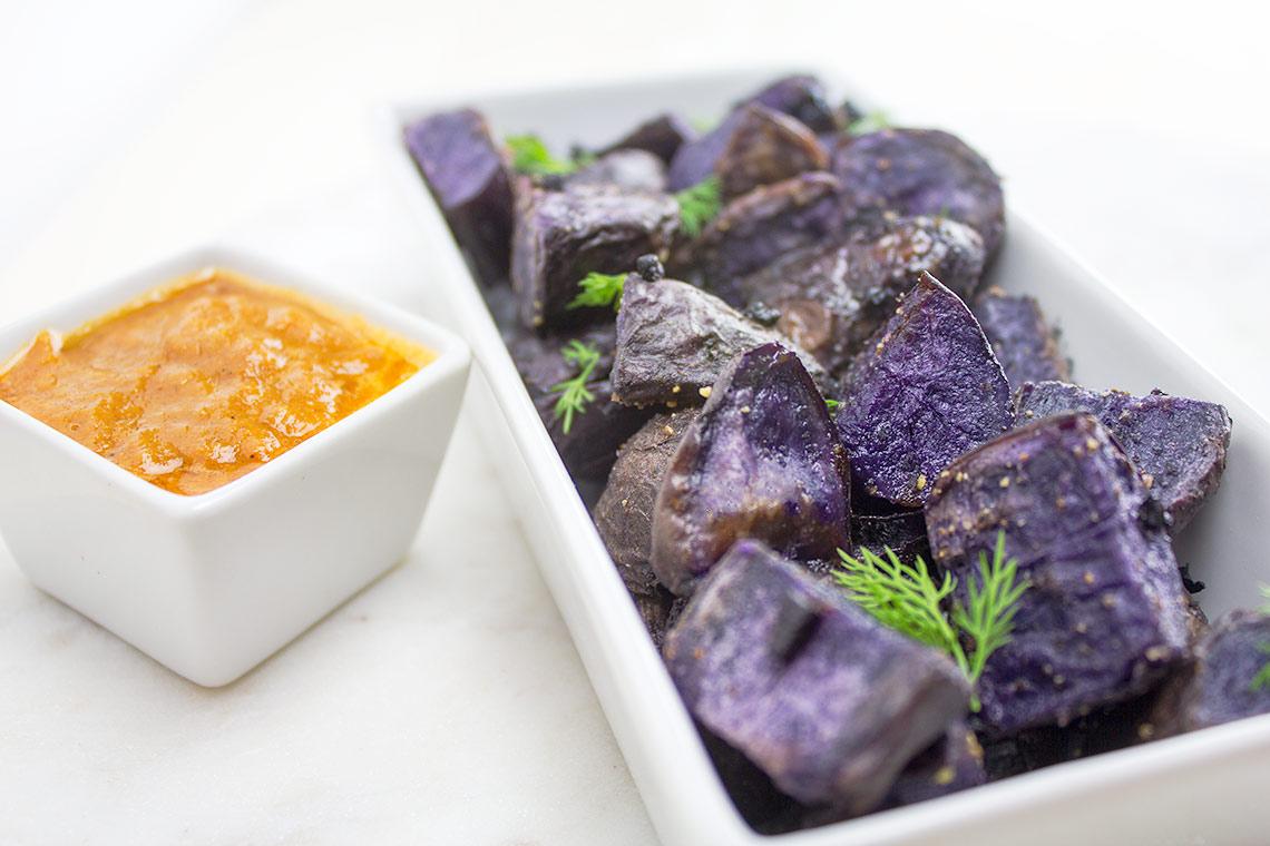 Duck Fat Roasted Purple Potatoes + Papaya Ketchup   flavortheory.com