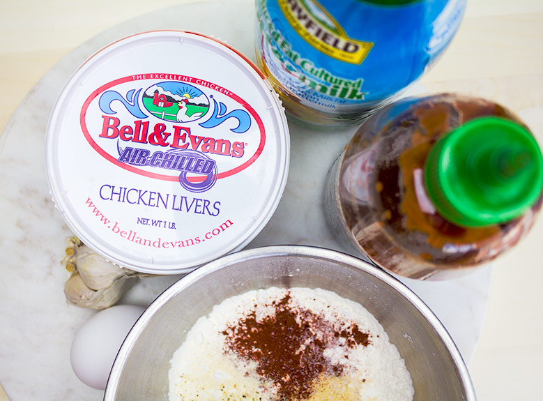 Fresh Ingredients for Fried Chicken Livers   | flavortheory.com