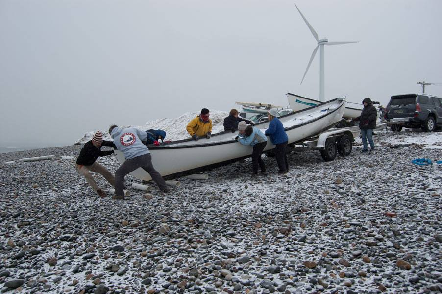 Unloading the Boats at the 2015 Snow Row