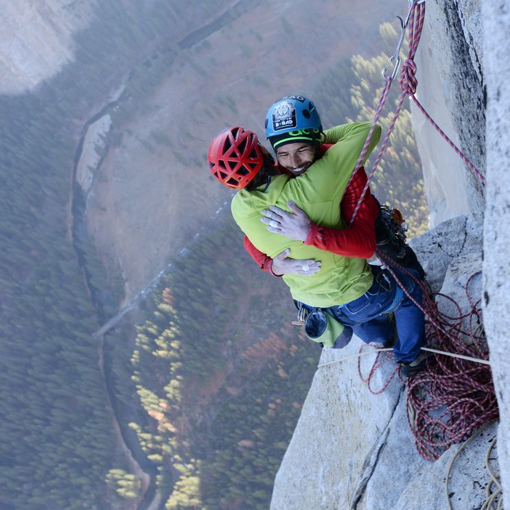 Tommy Caldwell & Kevin Jorgeson celebrate in January 2015 after being the first ever to free climb the Dawn Wall of El Capitan in Yosemite National Park.  It took them 7 years, 3 failed attempts and this specific climb took them 19 days. (Photo by Rhys Blakely. Source: http://www.thetimes.co.uk/tto/news/world/americas/article4323909.ece)
