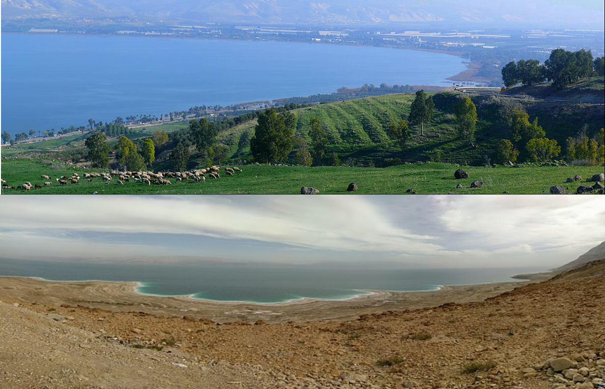 The Sea of Galilee (top picture) and the Dead Sea (bottom picture) only separated by 75 miles.