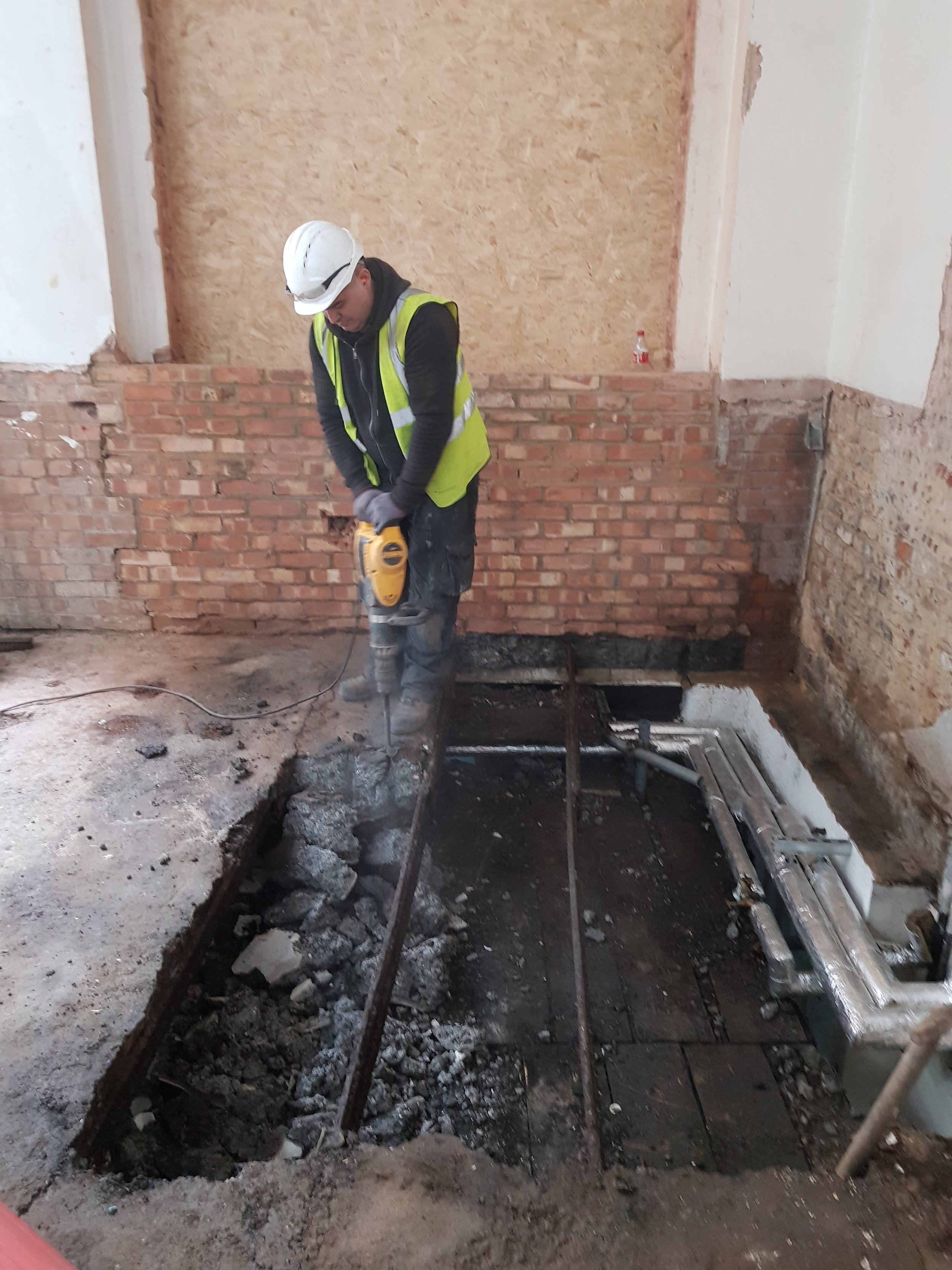 Team carefully removing some of the slab at Curtain Road onto our crash deck below so the new sump pumps can be installed in the basement.  Some good progress on site!!!