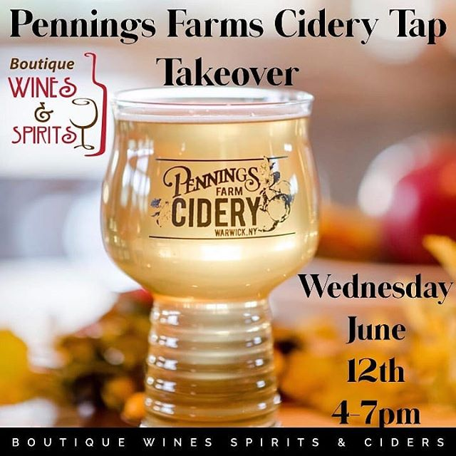 Dutchess County! Come by tonight for a fun tap takeover at @boutique_wines_spirits! Got some fun giveaways too!! ------------------------ Tap takeover with @penningsfarmcidery  Wednesday June 12th 4pm-7pm  #distinclydutchess #dutchesscountyny #hvlocal #fishkillny#fishkillfarms #beaconny #gardinerny #coldspringny#hvmag #hardcider #cider #thinknydrinkny#considertheapple #tapthetree #getexcidered #hvciderweek#ciderweekhv @newyorkcider #nyhardcider #hudsonvalleyny#hudsonvalley #wappingersfallsny #applecider