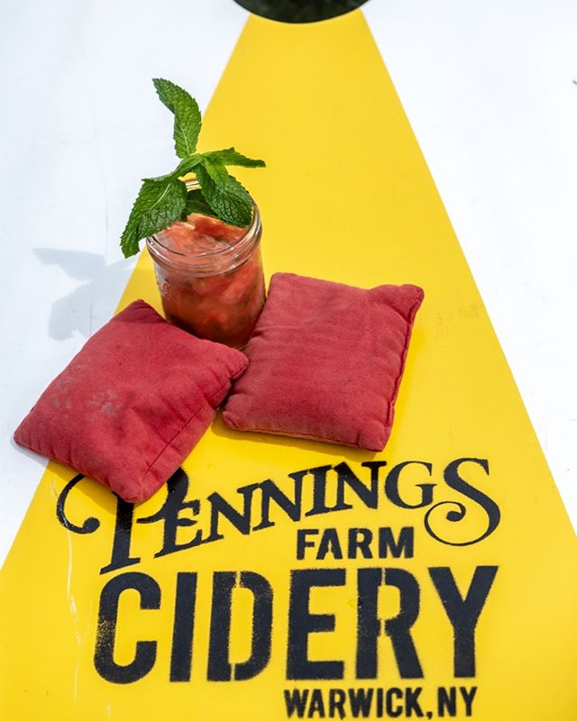 She's back and feeling very playful! How about a fresh fruit cocktail and a game of cornhole IN THE SUNSHINE!!! We're in. Are you?  #fruitcocktail #cornhole #penningsfarmcidery #cidercountry #cidah #warwickcider #instasummer #summertime #strawberryseason #over21venue