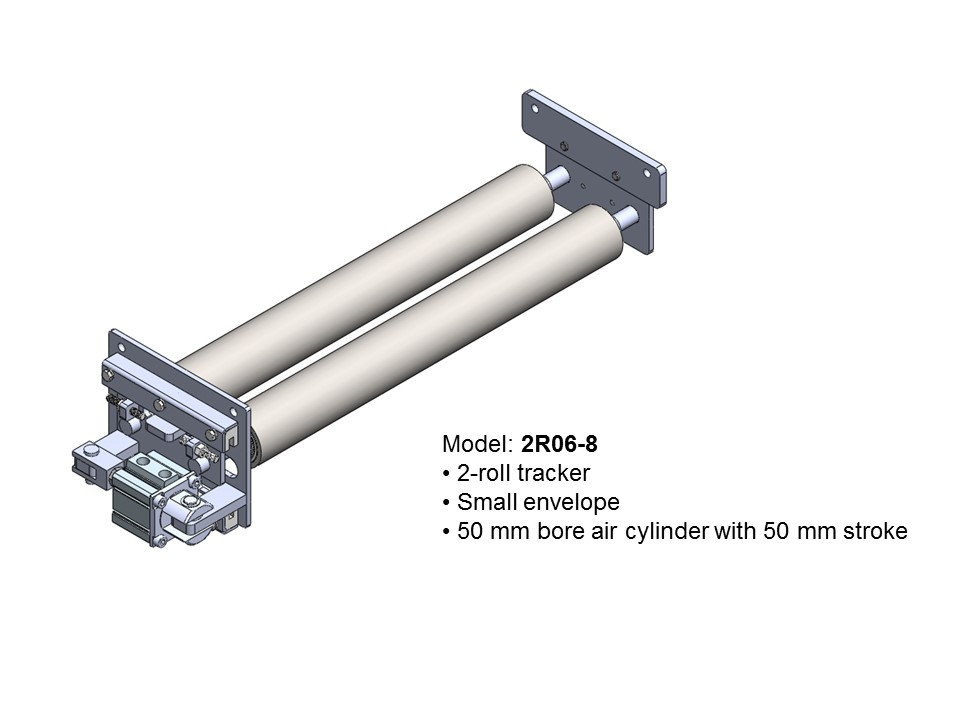 Automatic conveyor belt tracker / tracking rollers / belt guide