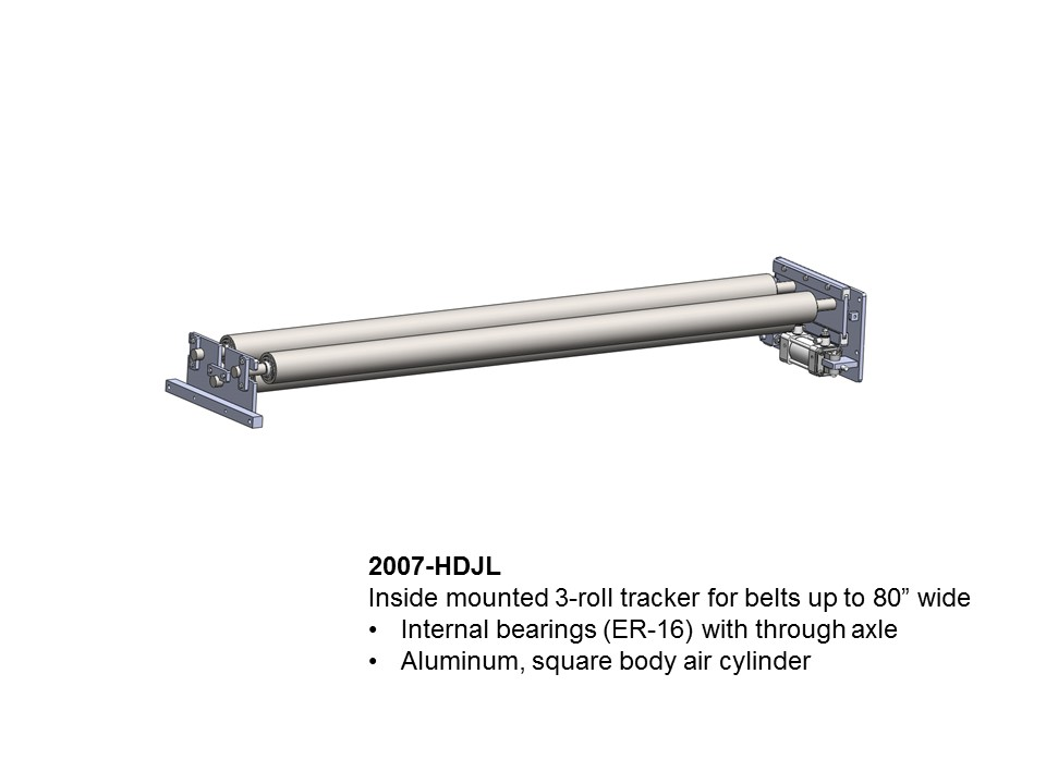 Automatic conveyor belt tracker / tracking rollers / belt band guide