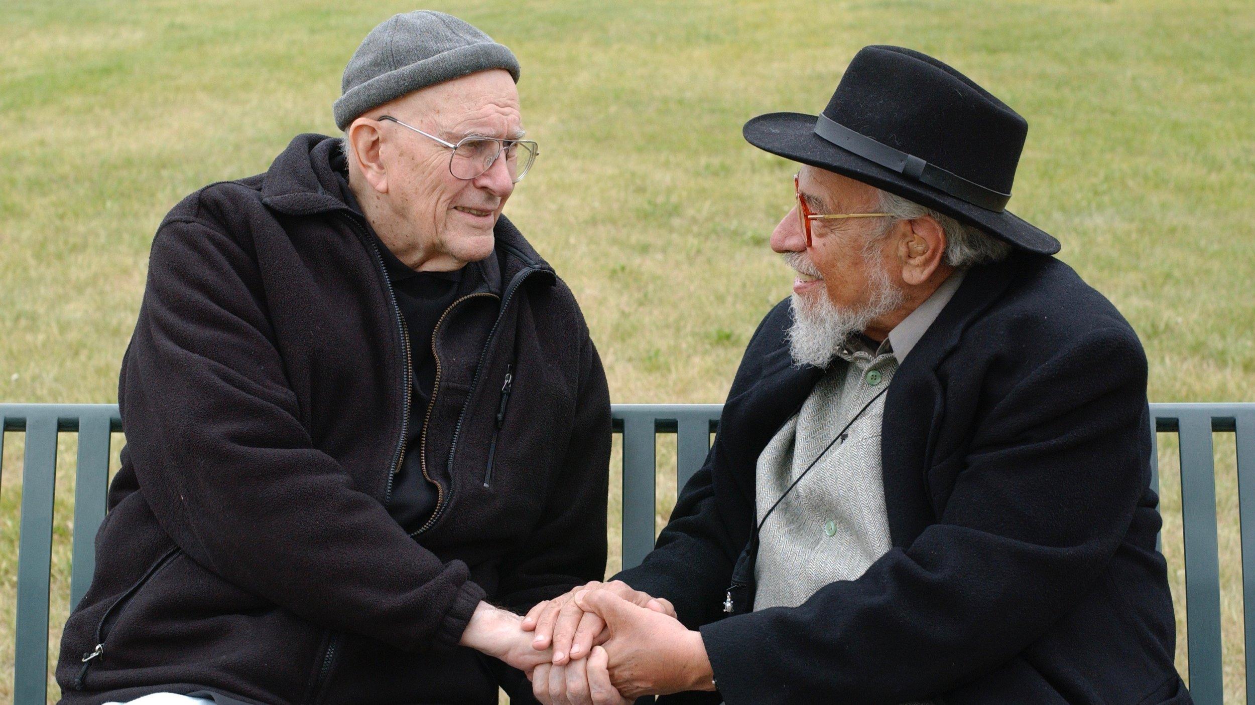 "Father Thomas Keating and Rabbi Zalman Schachter-Shalomi in Denver, Colorado, 2005, dialoguing on the ""Kiss of God."" Photo by Edis Jurcys, 2005."
