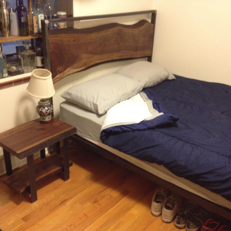 Reclaimed walnut bed frame/headboard