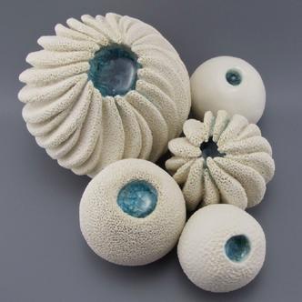 Coastal Ceramic Sculptures with Glass Detail